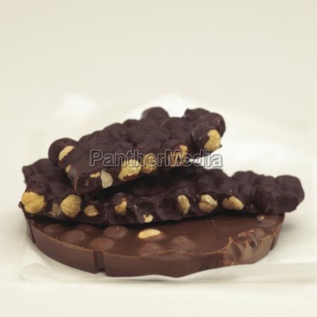 chocolate with hazelnuts close up