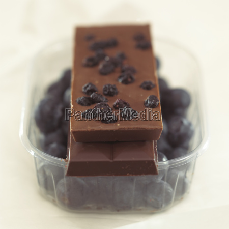 chocolate with	bilberries close up