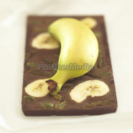 schokolade, mit, bananengeschmack, close-up - 21183389
