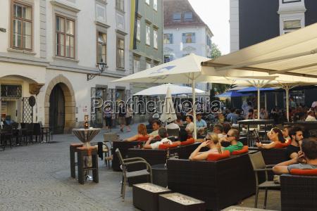 austria styria graz people at glockenspielplatz