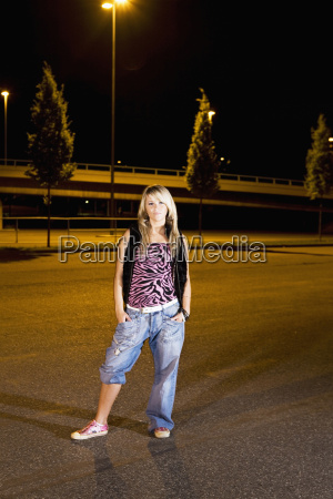 germany cologne young woman standing on