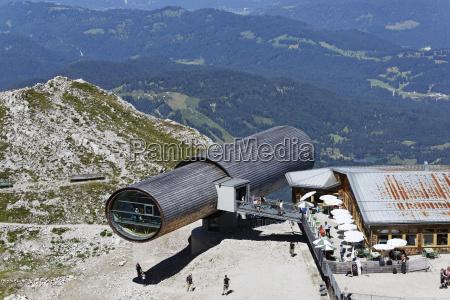 deutschland, bayern, mittenwald, naturinformationszentrum, ansicht, des, teleskops, an, karwendel-bergen - 21186145