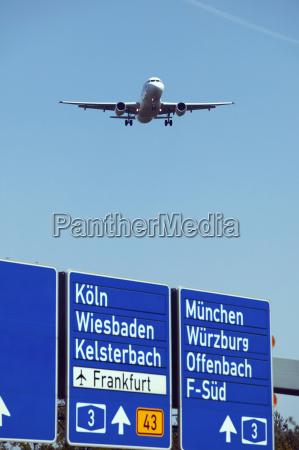germany frankfurter kreuz airplane over freeway