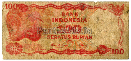one hundred rupiah banknote close up
