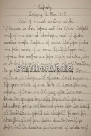 handschrift seite des alten uebungsbuchs