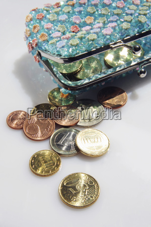 purse with change close up