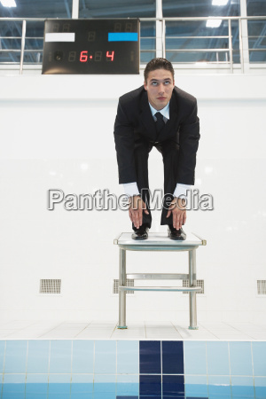 businessman on starting block