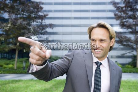 germany baden wuerttemberg stuttgart businessman pointing