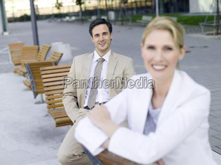 germany baden wuerttemberg stuttgart two businesspeople