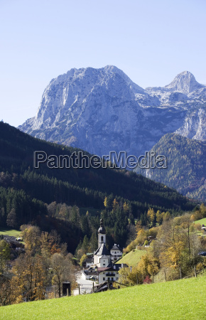 germany bavaria chapel with mountains in