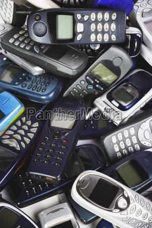 old mobile phones full frame close