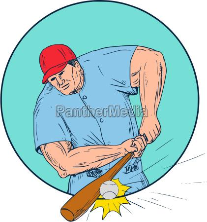 baseball spieler hitting eine homerun zeichnung