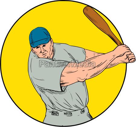 baseball spieler swinging fledermaus zeichnung