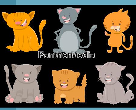 cute cat characters set