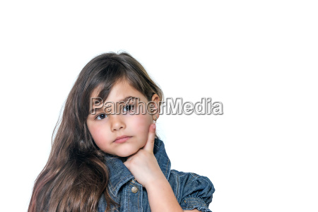 portrait of thoughtful little girl isolated