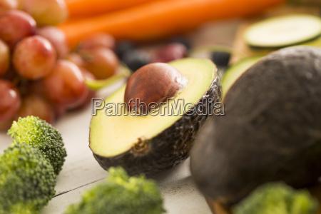 close up of halved avocado