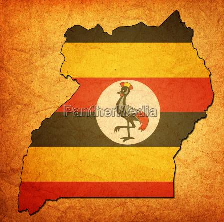 uganda gebiet mit flagge