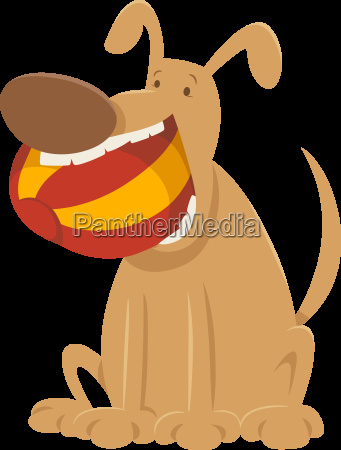 dog with ball cartoon character