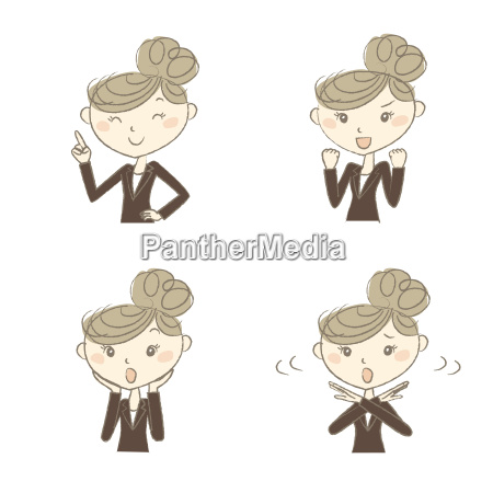 working woman with various poses