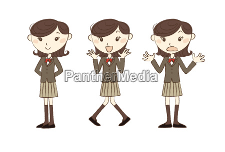 high school studen with various poses