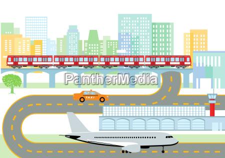 stadt mit flughafen und metro infografik
