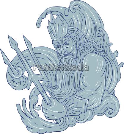 poseidon trident wellen zeichnung