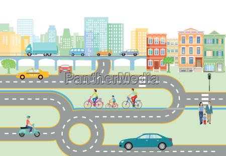 gemeinde mit strassenverkehr und transport