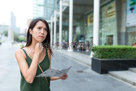 woman travel in bangkok city and
