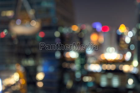 blur night in bangkok city