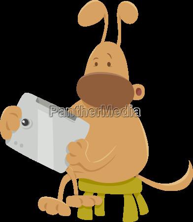 dog with tablet cartoon