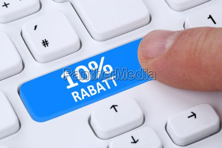 10 zehn prozent rabatt button aktion