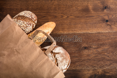 variety of breads in the bag