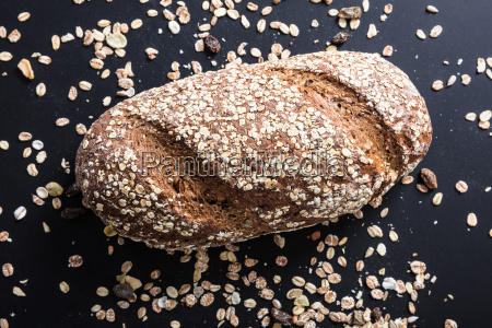 high angle view of cereal bread