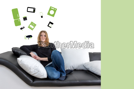 young woman home appliance concept
