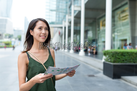woman travel to bangkok city and