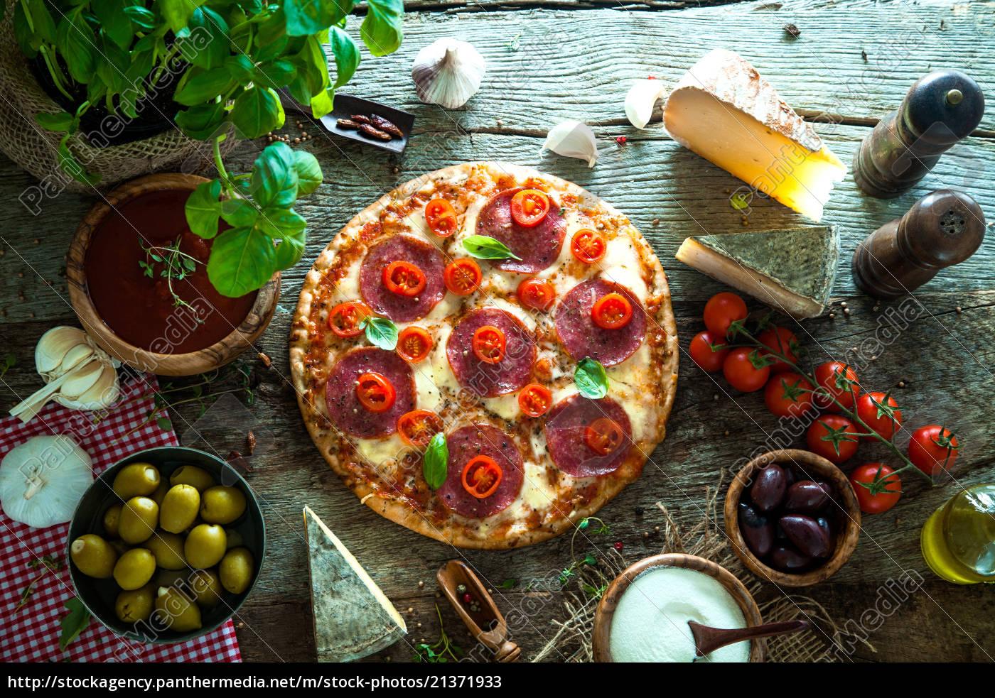 frische, pizza, auf, holz - 21371933