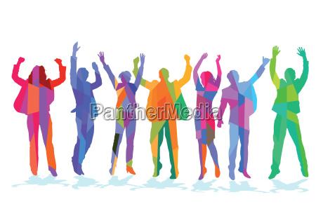 froehliche menschen feiern in der gruppe