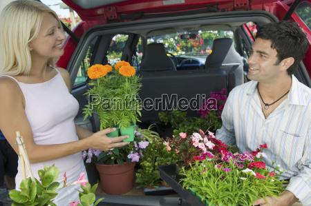 paar, loading, pflanzen, in, minivan - 21377477