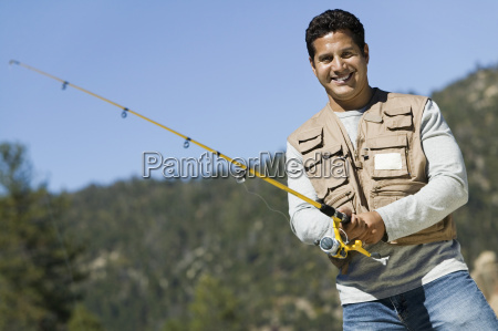 mature man fishing
