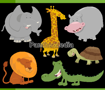 safari animal characters set