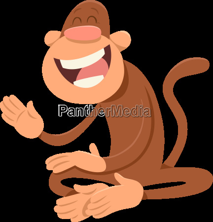 happy monkey animal character