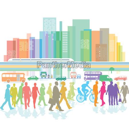 grossstadt mit fussgaenger und strassenverkehr