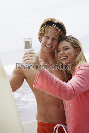 paar selbstportraet am strand
