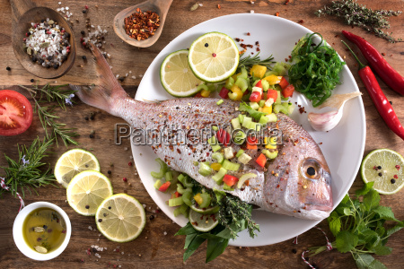 dorade with herbs filling