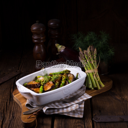 baked eggplant with green asparagus