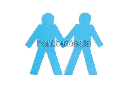 two blue paper stick figures holding