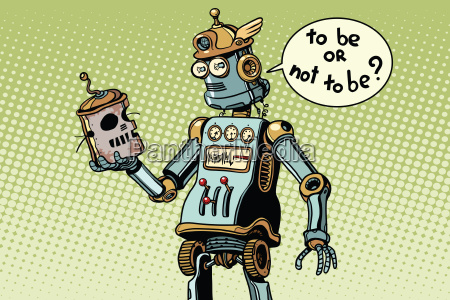 neuer roboter schaut auf den schaedel