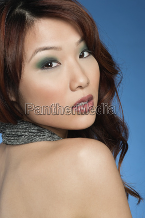 beautiful young woman with eye shadow