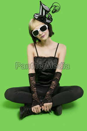 beautiful young woman wearing sunglasses and