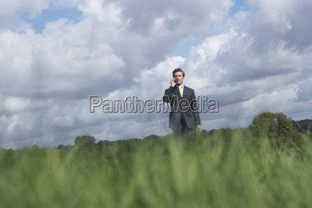 businessman using mobile phone in meadow